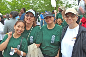 Volunteers Adele, Gina, Debra and Gerry take a moment before the walk!